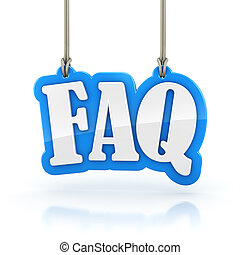 FAQ 3D word hanging on white background clipping path