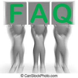 faq, aanplakbiljeten, optredens, frequent, hulp, en, steun