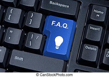 f.a.q., azul, botón, ordenador teclado, internet, concept.