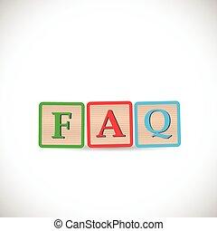 faq, bloco, ilustração