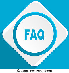 faq blue flat design modern icon for web and mobile app