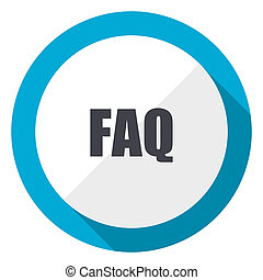 Faq blue flat design web icon
