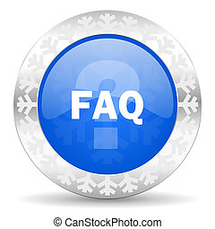 faq blue icon, christmas button