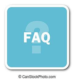 faq blue square internet flat design icon