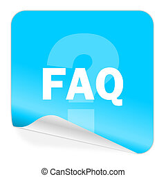 faq blue sticker icon