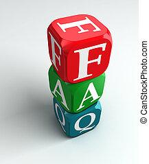 faq, buzzword, coloré, 3d