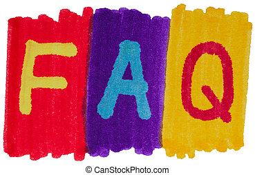 faq, clair, colors., questions, encre, marqueur, frequently, demandé