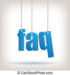 FAQ - Image of hanging FAQ text isolated on a white...