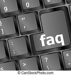 faq, computadora, primer plano, llave, teclado, rojo