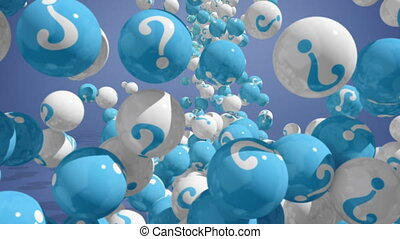 FAQ concept 3d - Falling balls with question marks on blue....