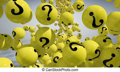 FAQ concept 3d - Falling balls with question marks on white....