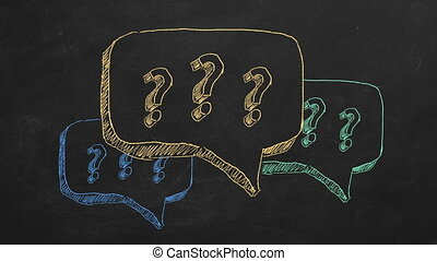 FAQ concept - Hand drawing and animated question marks on...