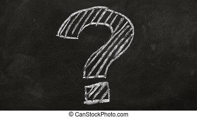 FAQ concept - Question mark drawn in chalk on a blackboard