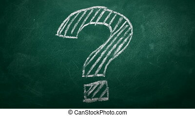 FAQ concept - Question mark drawn in chalk on a green...