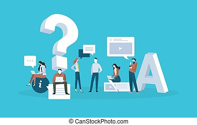 FAQ. - Flat design business people concept for answers and...