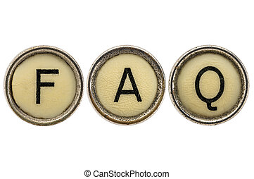 FAQ - frequently asked questions acronym in old round typewriter keys isolated on white