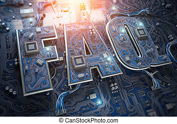 FAQ Frequently asked questions concept. FAQ in form of circuit board on computer motherboard.
