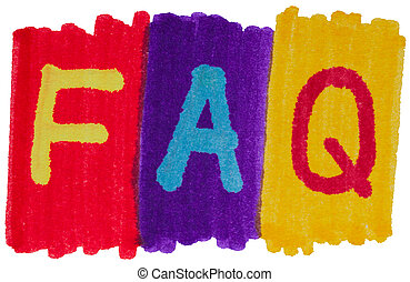 FAQ, frequently asked questions in bright marker ink colors...