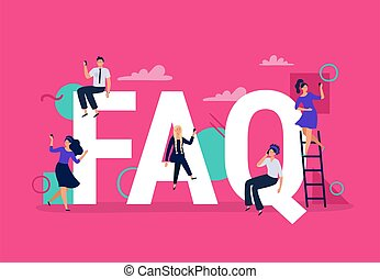 FAQ. Frequently asked questions, people with smartphones ask question and find answers. Questions help vector illustration