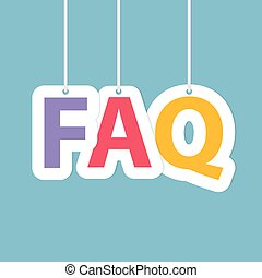 FAQ (Frequently Asked Questions) written with hanging letters- vector illustration