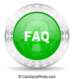faq green icon, christmas button