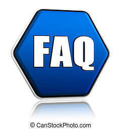 faq hexagon button - faq button - 3d blue hexagon banner...