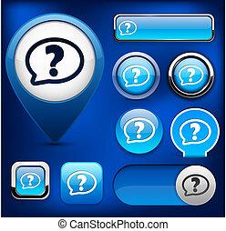 FAQ high-detailed web button collection.