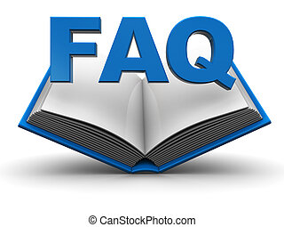 3d illustration of opened book with 'faq' sign