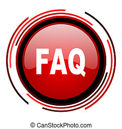 faq red circle web glossy icon on white background