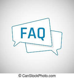 FAQ icon. Frequently Asked Question as Blue Speech bubble....