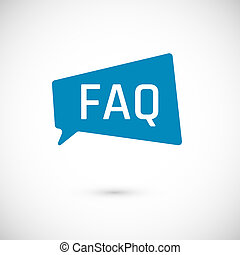FAQ icon. Frequently Asked Question as Speech bubble. Blue...