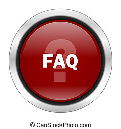 faq icon, red round button isolated on white background, web design illustration
