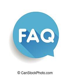 Faq icon sign vector blue