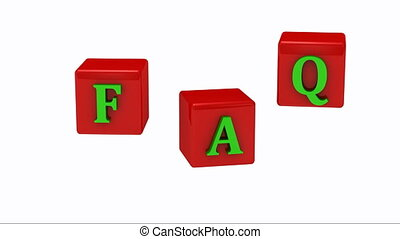 FAQ inscription bright green letters on red cubes rotating...