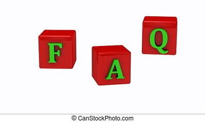 FAQ inscription bright green letter