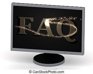 FAQ Inscription on monitor from metal letters