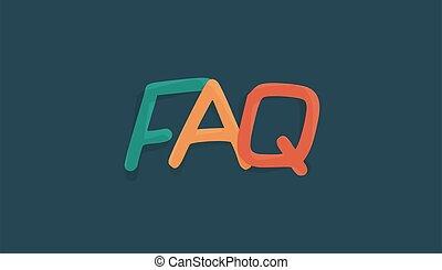 FAQ letters hand drawn word icon. Multicolored fun cartoon style font design for sticker, banner, logo or headline