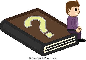 faq, -, livre, business, dessin animé