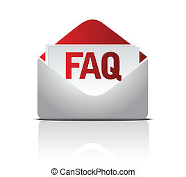 faq mail - faq envelope illustration isolated over a white...