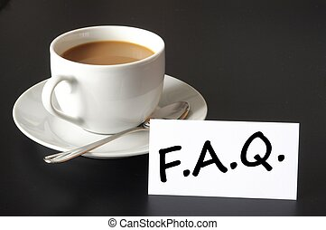 faq or frequently asked question concept with cup of coffee...
