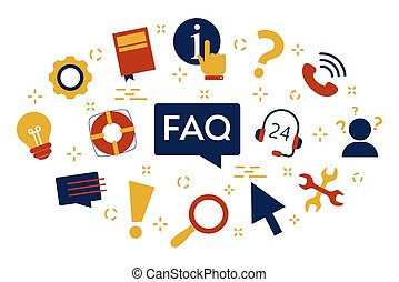FAQ or question and answer concept. Customer help