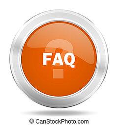 faq orange icon, metallic design internet button, web and mobile app illustration