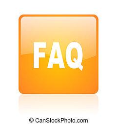 faq orange square glossy web icon