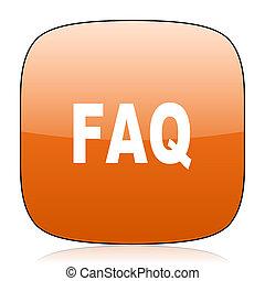 faq orange square web design glossy icon