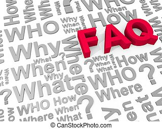 FAQ - The word FAQ surrounded by the words why, what, who,...