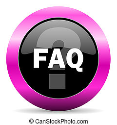 faq pink glossy icon - web glossy pushbutton