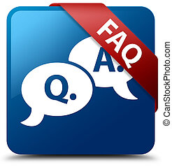 Faq (question answer bubble icon) blue square button red ribbon in corner