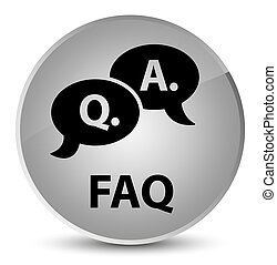 Faq (question answer bubble icon) elegant white round button