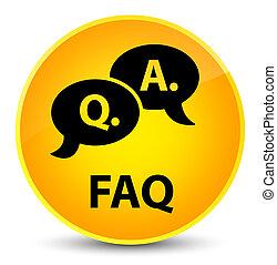 Faq (question answer bubble icon) elegant yellow round button