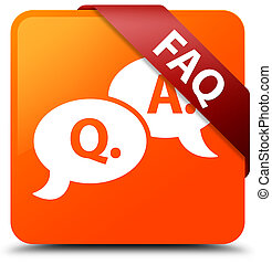 Faq (question answer bubble icon) orange square button red ribbon in corner